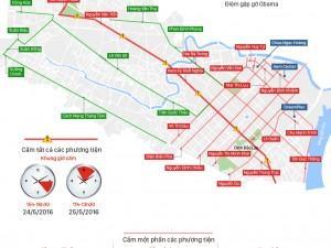 Các tuyến đường cấm xe lưu thông ở TPHCM để đón tổng thống Obama đến Việt Nam